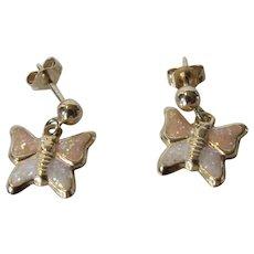 14 Karat Yellow Gold Petite Butterfly Pierced Earrings With Enamelled Finish