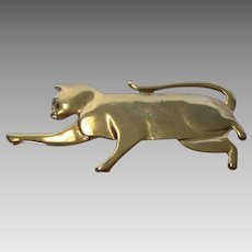Vintage Mystique Goldtone Cat Pin