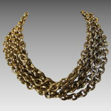 Vintage Five Strand Goldtone Chain Necklace