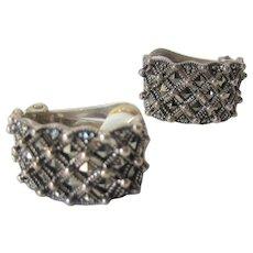Sterling  Silver Marcasite Hoop Clip on Earrings