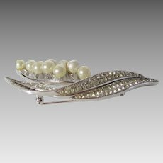 Vintage Early Patented Crown Trifari Lilly of the Valley Pin With Faux Pearls and Pave Crystal Stem