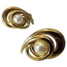 Vintage Givenchy Bold Goldtone Clip On Earrings With Faux Pearl
