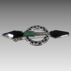 Vintage Big Bold Deco Style Pin With Faux Black and Green Onyx