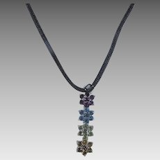 Sterling Silver Gemstone Pendant on a Silken Cord Featuring Real Gems