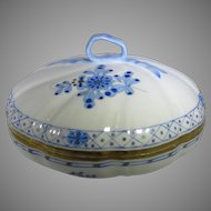 Herend Old Mark Covered Dish In Blue Garden Pattern