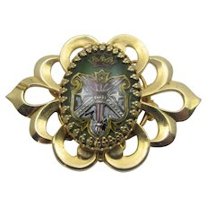 Vintage Goldtone Pin With Reverse Painting Intaglio