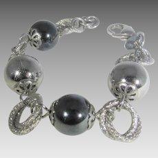 Stainless Steel and Hematite Designer Italian Bracelet