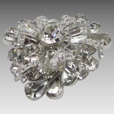 Vintage Eisenberg Clear Stone Pin with Swarovski Stones in a Variety of Shapes And Sizes