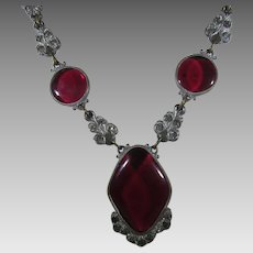 Vintage  Deco Necklace With Cranberry Glass Centers in Silver Tone
