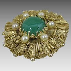 Vintage Weiss Goldtone Pin With Faux Jade Center and Faux Pearl Accents