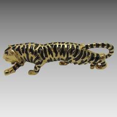 Vintage Tiger Pin In Enamelled Goldtone and Black