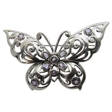 Sterling Silver Butterfly Pin Enhanced with Eight Open Backed Lavender Crystals