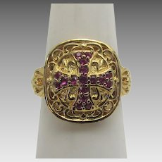 Sterling Silver Vermeil Ring Enhanced With a Faux Ruby Maltese Cross