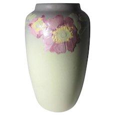 Weller Hudson Pale Green With Flowers Vase 1920-30