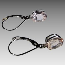 14 Karat  Yellow Gold Morganite Oval Earrings for Pierced Ears With Euro Wires