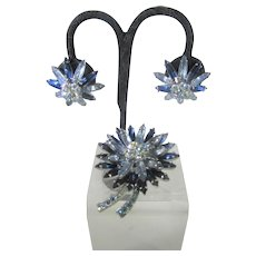 Vintage 1960's Pin and Matching Clip On Earring Set Combining Dark and Light Blue Aurora Borealis Crystals