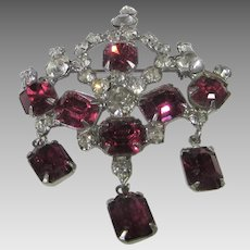 Vintage Cranberry and White Crystal Pin or Pendant