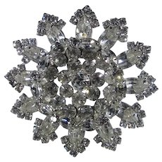 Vintage Large Weiss Crystal Pin with a Variety of Stone Shapes and Sizes