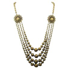 Vintage Goldtone Three Strand Beads with Two Focals Necklace
