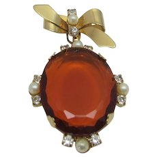 Vintage Hobe Early Two Part Pin With Large Faux Citrine Surrounded by Faux Pearl Accents
