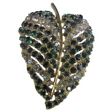 Vintage Art Leaf Pin In Green and White Crystals