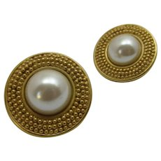 Vintage Carolee Goldtone Classic Clip On Earrings with Faux Pearl CenterV