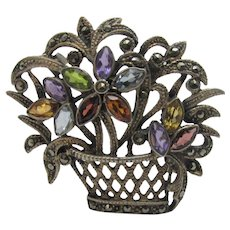Sterling Silver Basket Pin With Multi Colored Crystals Flowers