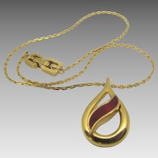 Vintage Givenchy 1979 Enamelled Pendant on Goldtone Chain