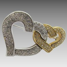 Vintage Swarovski Hearts Entwined Pin in Silver and Golden Tones