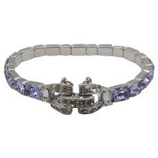 Vintage Mazer Bros. Crystal Bracelet in a Variety of Lavender Toned Crystals