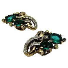 Vintage Crown Trifari Clip On Earrings With Dark Green and Clear Crystals