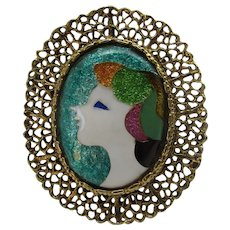 Vintage Enamelled Abstract Portrait of a Woman Pin or Pendant With Goldtone Filagree Frame