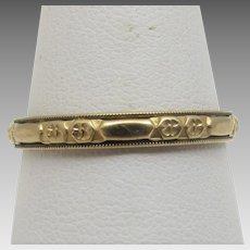 14 Karat Yellow Gold Eternity Band Engraved All Around