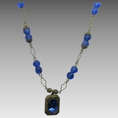 Vintage Early 20th Century Blue Crystal Necklace