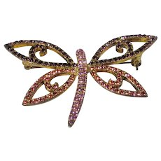 Vintage Joan Rivers Dragonfly Pin in Pink and Purple Crystals