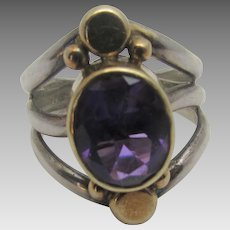 Sterling Silver and 14 Karat Amethyst Ring