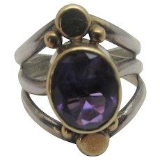 Sterling Silver and 14 Karat Amethyst Ring