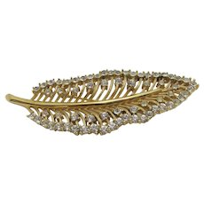 Crown Trifari Leaf Pin With Crystal Accents