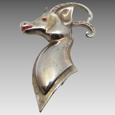 Sterling Silver Gold Wash Deer Head Pin With Red Rhinestone Accents