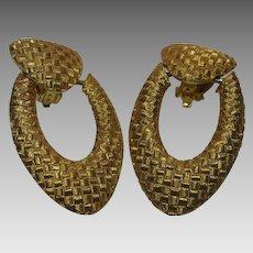 St. John Textured Yellow Goldtone Doorknocker Earrings