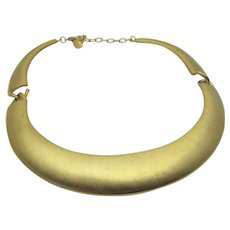 Vintage Goldtone Brushed Segmented Necklace