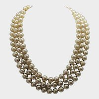 Miriam Haskell Triple Strand Faux Pearl With Bird Decorated Clasp