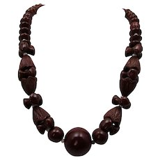 Vintage Root Beer Glass Bead Necklace From The Thirties