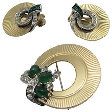 Vintage Boucher Mid Century Modern Pin in Goldtone and Faux Emerald Crystals and Matching Clip Earrings