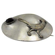 Sterling Silver Roadrunner Pin With Bezel Set Garnet