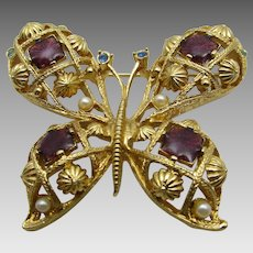 Vintage Avon Butterfly Pin With Faux Ruby, Faux Topaz and Faux Pearl Accents