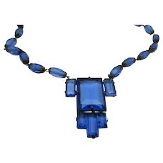 Deco Necklace Combing Blue Crystals and Matching Lucite Blue Beads