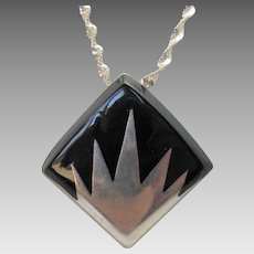 Sterling Silver Mexican Onyx Modernist Pendant on a Sterling Silver Chain