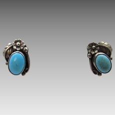 Sterling Silver Turquoise Pierced Earrings With Great Silver Work