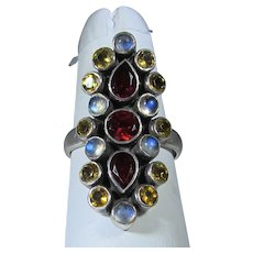 Sterling Silver Gemstone Ring Featuring Garnets, Moonstones and Citrines
